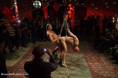 Tied gay slave in public launch party