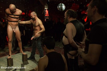 Photo number 3 from Live Shoot: Bound In Public Launch Party shot for Bound in Public on Kink.com. Featuring Patrick Rouge and Josh West in hardcore BDSM & Fetish porn.