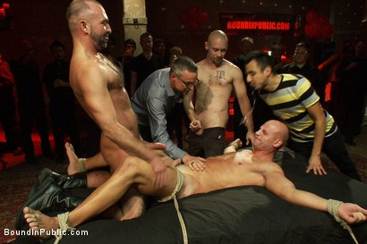 Photo number 12 from Live Shoot: Bound In Public Launch Party shot for Bound in Public on Kink.com. Featuring Patrick Rouge and Josh West in hardcore BDSM & Fetish porn.