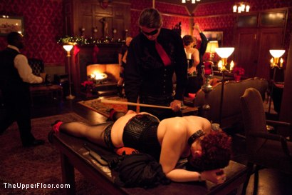 Photo number 12 from XXXmas Party shot for The Upper Floor on Kink.com. Featuring Sparky Sin Claire, Coffee Brown, Iona Grace and Jack Hammer in hardcore BDSM & Fetish porn.