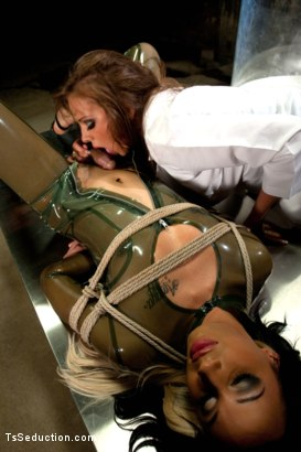 Photo number 1 from Mad, Mad Science <br> The Making of The Ultimate Woman shot for TS Seduction on Kink.com. Featuring Honey FoXXX, Chris Ockham and Nika Noire in hardcore BDSM & Fetish porn.