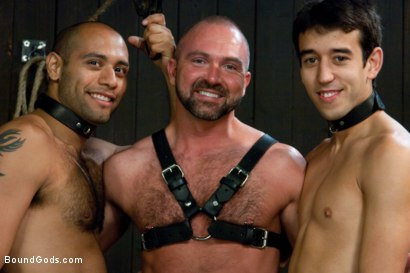 Photo number 15 from forte vs slyman - Live Shoot shot for Bound Gods on Kink.com. Featuring Van Darkholme, Josh Slyman, Leo Forte and Josh West in hardcore BDSM & Fetish porn.