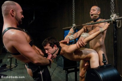 Photo number 13 from forte vs slyman - Live Shoot shot for Bound Gods on Kink.com. Featuring Van Darkholme, Josh Slyman, Leo Forte and Josh West in hardcore BDSM & Fetish porn.