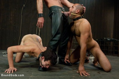 Photo number 4 from forte vs slyman - Live Shoot shot for Bound Gods on Kink.com. Featuring Van Darkholme, Josh Slyman, Leo Forte and Josh West in hardcore BDSM & Fetish porn.