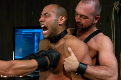 Photo number 3 from forte vs slyman - Live Shoot shot for Bound Gods on Kink.com. Featuring Van Darkholme, Josh Slyman, Leo Forte and Josh West in hardcore BDSM & Fetish porn.