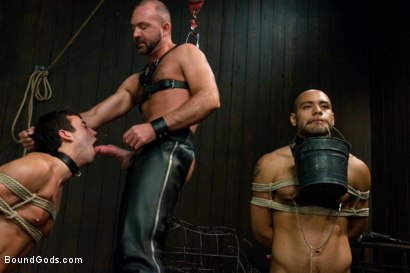 Photo number 5 from forte vs slyman - Live Shoot shot for Bound Gods on Kink.com. Featuring Van Darkholme, Josh Slyman, Leo Forte and Josh West in hardcore BDSM & Fetish porn.