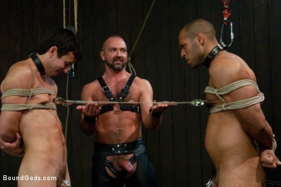 Photo number 1 from forte vs slyman - Live Shoot shot for Bound Gods on Kink.com. Featuring Van Darkholme, Josh Slyman, Leo Forte and Josh West in hardcore BDSM & Fetish porn.
