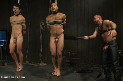Photo number 7 from forte vs slyman - Live Shoot shot for Bound Gods on Kink.com. Featuring Van Darkholme, Josh Slyman, Leo Forte and Josh West in hardcore BDSM & Fetish porn.