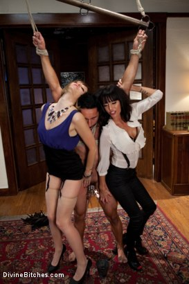 Photo number 2 from Maitresse Madeline cuckolds her boyfriend with a woman! shot for Divine Bitches on Kink.com. Featuring Gia DiMarco, Maitresse Madeline Marlowe  and Gianni Luca in hardcore BDSM & Fetish porn.