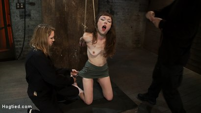 Photo number 3 from Girl next door suffers hardest hour on the internet<br> No breaks, 4 positions, on screen tying! shot for Hogtied on Kink.com. Featuring Seda and Rain DeGrey in hardcore BDSM & Fetish porn.