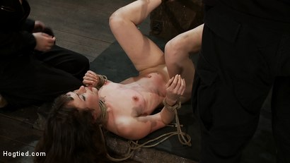 Photo number 13 from Girl next door put upside down, severely flogged & made to cum<br>On screen tying and real BDSM play shot for Hogtied on Kink.com. Featuring Seda and Rain DeGrey in hardcore BDSM & Fetish porn.