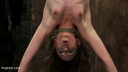 Girl next door put upside down, severely flogged & made to cumOn screen tying and real BDSM play
