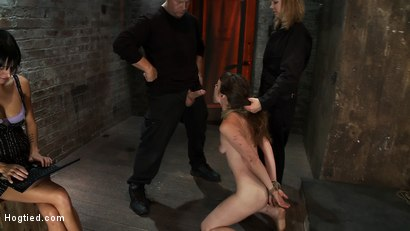 Photo number 7 from Made to Squirt! Made to Deep Throat!<br>Flogged until her body and ass are marked and bright red! shot for Hogtied on Kink.com. Featuring Seda and Rain DeGrey in hardcore BDSM & Fetish porn.