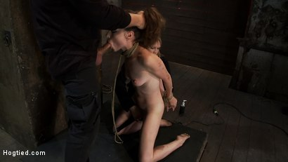 Photo number 9 from Made to Squirt! Made to Deep Throat!<br>Flogged until her body and ass are marked and bright red! shot for Hogtied on Kink.com. Featuring Seda and Rain DeGrey in hardcore BDSM & Fetish porn.