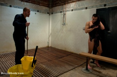Photo number 3 from The Creepy Janitor and The Track Star shot for Bound Gods on Kink.com. Featuring Emanuel and Brenn Wyson in hardcore BDSM & Fetish porn.