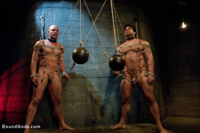 Photo number 3 from You can't hurt me with that, Sir. <br> Live Shoot shot for Bound Gods on Kink.com. Featuring Chad Rock, Vince Ferelli, Brenn Wyson and Van Darkholme in hardcore BDSM & Fetish porn.