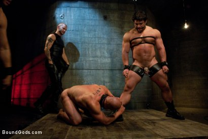 Photo number 1 from You can't hurt me with that, Sir. <br> Live Shoot shot for Bound Gods on Kink.com. Featuring Chad Rock, Vince Ferelli, Brenn Wyson and Van Darkholme in hardcore BDSM & Fetish porn.
