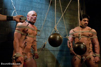 Photo number 4 from You can't hurt me with that, Sir. <br> Live Shoot shot for Bound Gods on Kink.com. Featuring Chad Rock, Vince Ferelli, Brenn Wyson and Van Darkholme in hardcore BDSM & Fetish porn.