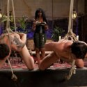 Amazon girl Nyomi Banxxx drills one slaveboy in the ass and fucks another with a strap-on