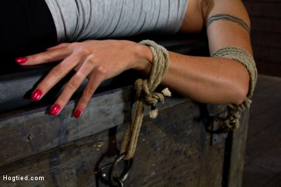 Photo number 4 from Extreme Predicament Bondage   Huge Nipples Tied to Toes, How Long Can the Abs Hold Out? shot for Hogtied on Kink.com. Featuring Wenona in hardcore BDSM & Fetish porn.