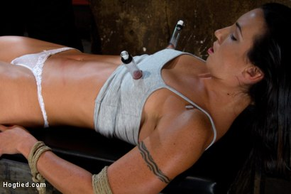 Photo number 6 from Extreme Predicament Bondage<br>Huge Nipples Tied to Toes, How Long Can the Abs Hold Out? shot for Hogtied on Kink.com. Featuring Wenona in hardcore BDSM & Fetish porn.
