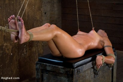 Photo number 10 from Extreme Predicament Bondage   Huge Nipples Tied to Toes, How Long Can the Abs Hold Out? shot for Hogtied on Kink.com. Featuring Wenona in hardcore BDSM & Fetish porn.