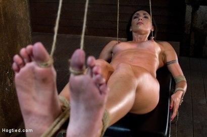 Photo number 14 from Extreme Predicament Bondage<br>Huge Nipples Tied to Toes, How Long Can the Abs Hold Out? shot for Hogtied on Kink.com. Featuring Wenona in hardcore BDSM & Fetish porn.