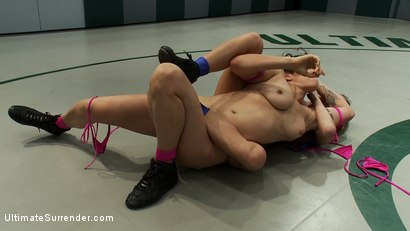"""Photo number 3 from Welcome Saffron """"The Destroyer"""" 5'10 150lbs of pure muscle and determination<br>Saffron meet Ariel X shot for Ultimate Surrender on Kink.com. Featuring Ariel X and Saffron in hardcore BDSM & Fetish porn."""
