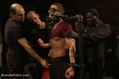 Photo number 1 from Adam Knox gets caught in a cum fest shot for Bound in Public on Kink.com. Featuring Christian Wilde, Cole Streets and Adam Knox in hardcore BDSM & Fetish porn.