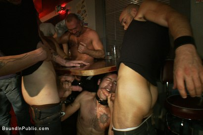 Photo number 2 from Use the stud's uncut cock as a shot glass at a public bar! shot for Bound in Public on Kink.com. Featuring Josh West and DJ in hardcore BDSM & Fetish porn.