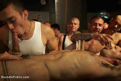 Photo number 7 from Use the stud's uncut cock as a shot glass at a public bar! shot for Bound in Public on Kink.com. Featuring Josh West and DJ in hardcore BDSM & Fetish porn.