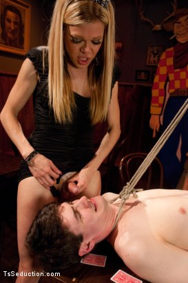 Photo number 7 from Put Your Money Where Your Cock Is....<br>Hustling a Hustler  shot for TS Seduction on Kink.com. Featuring Paris and Chris Ockham in hardcore BDSM & Fetish porn.