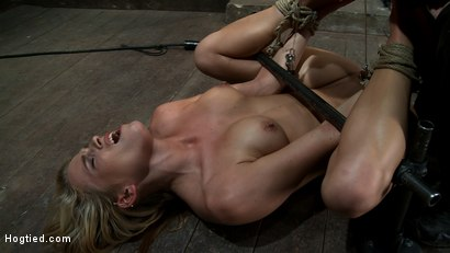 Photo number 12 from Tiny 5'3 100lbs Southern Peach is so cute, innocent<br>We rip orgasm after orgasm out of this co-ed shot for Hogtied on Kink.com. Featuring Aiden Aspen in hardcore BDSM & Fetish porn.