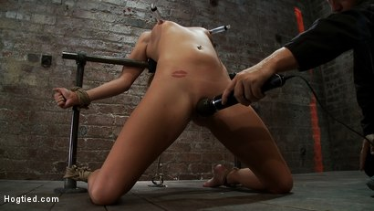 Photo number 4 from Tiny Southern Belle pushed to her limits, back arched, made to cum hard  Cruelest crotch rope ever shot for Hogtied on Kink.com. Featuring Aiden Aspen in hardcore BDSM & Fetish porn.
