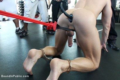 Photo number 6 from Gym Rat and The Gay Mafia  shot for Bound in Public on Kink.com. Featuring Tristan Jaxx, Adam Knox and Nick Moretti in hardcore BDSM & Fetish porn.