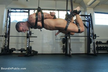 Photo number 10 from Gym Rat and The Gay Mafia  shot for Bound in Public on Kink.com. Featuring Tristan Jaxx, Adam Knox and Nick Moretti in hardcore BDSM & Fetish porn.