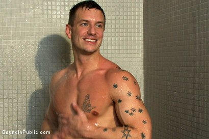 Photo number 15 from Gym Rat and The Gay Mafia  shot for Bound in Public on Kink.com. Featuring Tristan Jaxx, Adam Knox and Nick Moretti in hardcore BDSM & Fetish porn.