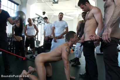 Photo number 5 from Gym Rat and The Gay Mafia  shot for Bound in Public on Kink.com. Featuring Tristan Jaxx, Adam Knox and Nick Moretti in hardcore BDSM & Fetish porn.