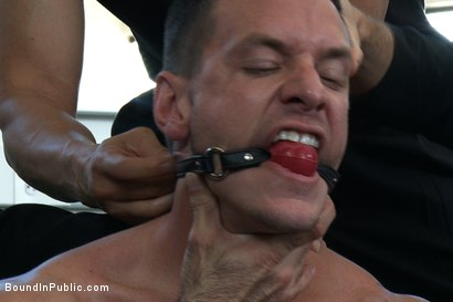 Photo number 2 from Gym Rat and The Gay Mafia  shot for Bound in Public on Kink.com. Featuring Tristan Jaxx, Adam Knox and Nick Moretti in hardcore BDSM & Fetish porn.