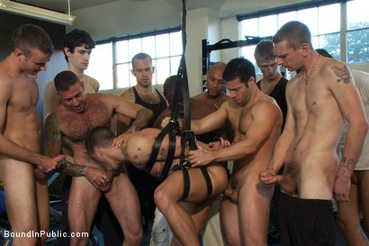 Photo number 8 from Gym Rat and The Gay Mafia  shot for Bound in Public on Kink.com. Featuring Tristan Jaxx, Adam Knox and Nick Moretti in hardcore BDSM & Fetish porn.