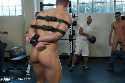 Photo number 7 from Gym Rat and The Gay Mafia  shot for Bound in Public on Kink.com. Featuring Tristan Jaxx, Adam Knox and Nick Moretti in hardcore BDSM & Fetish porn.