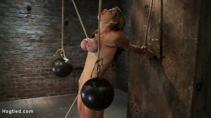 Photo number 13 from Hot Blond has her huge tits punished with bowling balls, pulled to her tip toes<br>Extreme suffering shot for Hogtied on Kink.com. Featuring Felony in hardcore BDSM & Fetish porn.