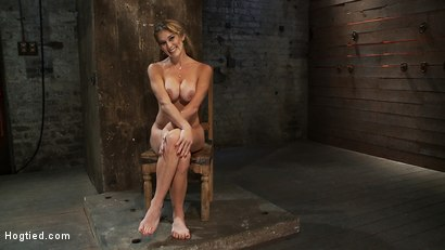 Photo number 15 from Hot Blond has her huge tits punished with bowling balls, pulled to her tip toes<br>Extreme suffering shot for Hogtied on Kink.com. Featuring Felony in hardcore BDSM & Fetish porn.