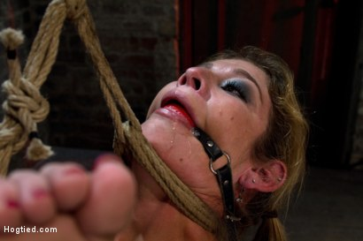 Photo number 12 from MILF with huge tits category 5 suspended from her neck & ankles <br>Brutally fucked in her ass. shot for Hogtied on Kink.com. Featuring Felony in hardcore BDSM & Fetish porn.