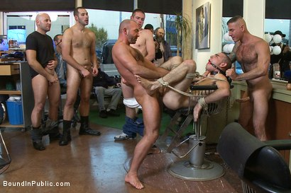 Photo number 13 from Shaved and fucked in a busy barbershop shot for Bound in Public on Kink.com. Featuring Dylan Deap and Josh West in hardcore BDSM & Fetish porn.