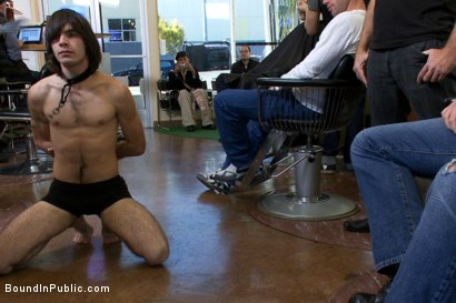 Photo number 1 from Shaved and fucked in a busy barbershop shot for Bound in Public on Kink.com. Featuring Dylan Deap and Josh West in hardcore BDSM & Fetish porn.