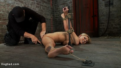 Photo number 6 from Flexible Blond MILF is tied in the splits.   We cane, flog & make this mom cum like a whore. shot for Hogtied on Kink.com. Featuring Samantha Sin in hardcore BDSM & Fetish porn.