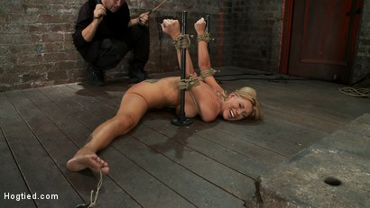 Photo number 12 from Flexible Blond MILF is tied in the splits.<br>  We cane, flog & make this mom cum like a whore. shot for Hogtied on Kink.com. Featuring Samantha Sin in hardcore BDSM & Fetish porn.