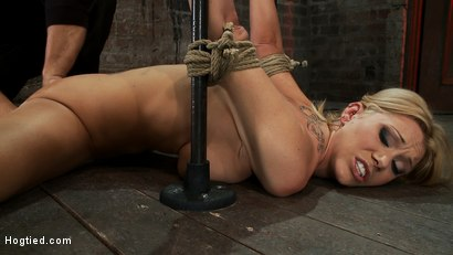 Photo number 14 from Flexible Blond MILF is tied in the splits.<br>  We cane, flog & make this mom cum like a whore. shot for Hogtied on Kink.com. Featuring Samantha Sin in hardcore BDSM & Fetish porn.