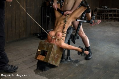 Photo number 13 from Hot skinny MILF with big tits, is bound in a custom metal device. <br>Brutally fucked, and zippered. shot for Device Bondage on Kink.com. Featuring Gia DiMarco and Maestro in hardcore BDSM & Fetish porn.
